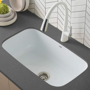 Kraus KEU 14WHITE Pintura 16 Gauge Undermount Single Bowl Enameled Stainless Steel Kitchen Sink | 14 Best Kitchen Sinks 2021 Reviews (Ultimate Buying Guide)