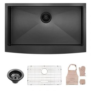 LORDEAR LAB3321R1 Black 33 Inch Farmhouse Apron Single Bowl 16-gauge 10 Inch Deep Stainless Steel Kitchen Sink