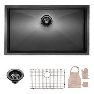 Lordear Black Kitchen Sink Commercial 32 Inch 16 Gauge