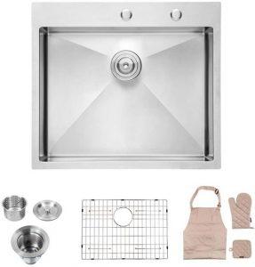 Lordear Tight Radius Stainless Steel Kitchen Sink Single Bowl