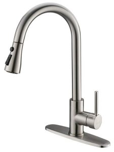 Moone Commercial Single Handle Kitchen Faucet Pull Down Sprayer Brass Body Pull Out Spray Kitchen Sink Faucets Stainless Steel Brushed Nickel | 13 Best Kitchen Faucets 2019 Buying Guide and Review