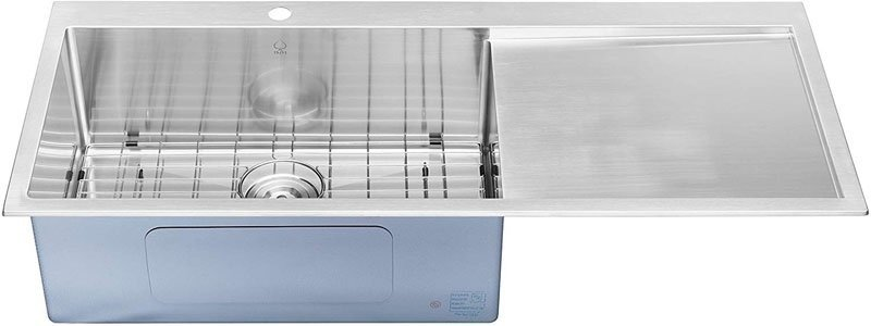 BAI 1233 Stainless-Steel 16 Gauge Kitchen Sink Handmade 48-inch Top Mount Single Bowl with Drainboard.