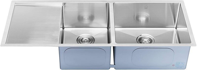BAI 1254 Stainless-Steel 16 Gauge Kitchen sink Handmade 45-inch Undermount Double Bowl with Drainboard