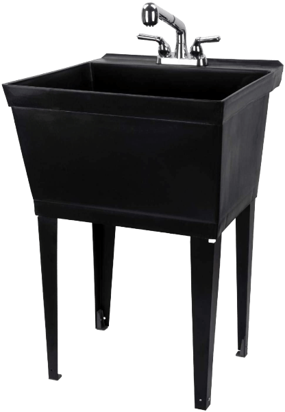 Black_Utility_Sink_Laundry_Tub_With_Pull_Out_Chrome_Faucet__Sprayer_Spout
