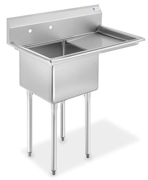 GRIDMANN NSF Stainless Steel 18 Single Bowl Commercial Kitchen Sink with Right Drainboard - 12 in Deep