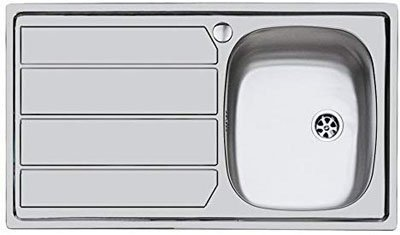 IDRO-BRIC u81020 DX179 x 50 cm Stainless-Steel with Built-in 1 Bowl Right Hand Sink with Drainer