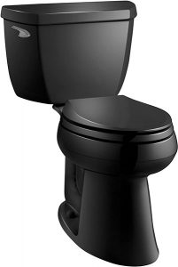 KOHLER K-3713-7 Highline Classic Comfort Height Two-Piece Elongated Toilet with 10″ Rough-in, Black Black