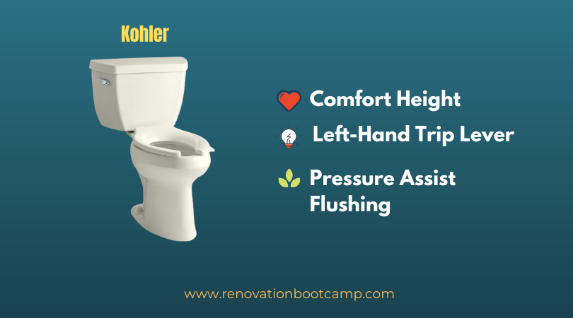 Kohler K-3493-96 Highline Classic Pressure Lite Comfort Height Elongated 1.4 gpf Toilet with Left-Hand Trip Lever, Less Seat, Biscuit