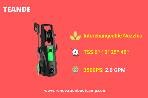TEANDE 3500 PSI Electric Pressure Washer, 2.60 GPM 1800W