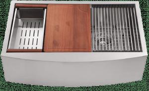 30 Farmhouse Sink – Logmey 30 inch Kitchen Sink Single Bowl Workstation Apron Sink 18 Guage Stainless Steel Farm Sink