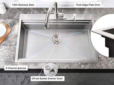 HOSINO 33 Inch Double Ledge Workstation Kitchen Sink 16 Gauge Drop In Sink | Best Sink for Butcher Block Countertop 2021
